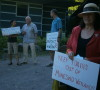 Protest outside the NVCA board meeting last Friday - AWARE Simcoe photo