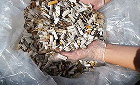 Cigarette butts are the most common litter item found on Lake Huron beaches -Lake Huron Centre for Coastal Conservation photo