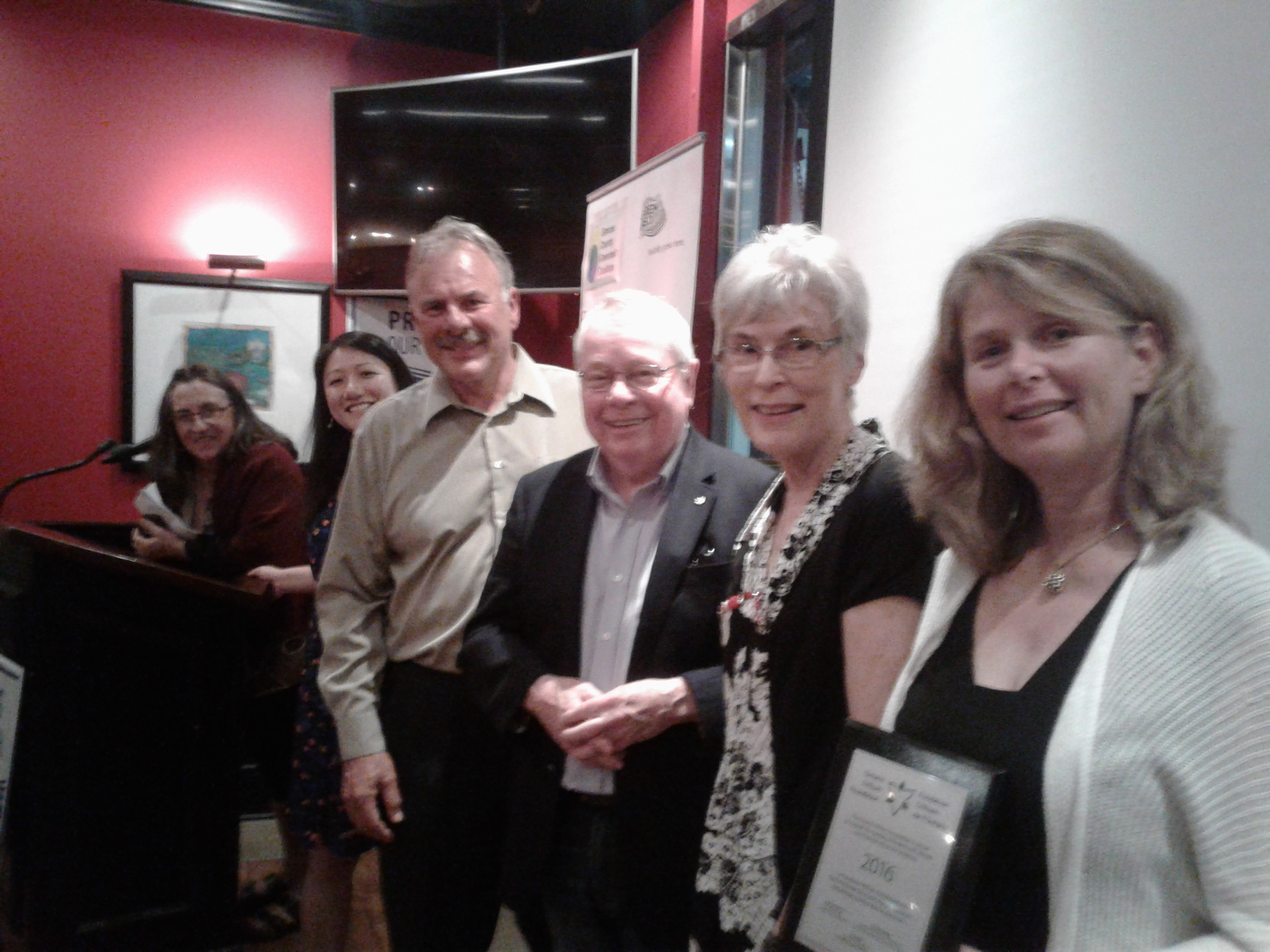 From left, Debbe Crandall of the Moraine Partnership, Joyce Chau of Eco-Spark, former ECO Gord Miller, elder statesman David Crombie, York Simcoe MPP Julia Munro and Anne Bell of Ontario Nature were among the speakers at a meeting  in Barrie on Wednesday. -AWARE Simcoe photo