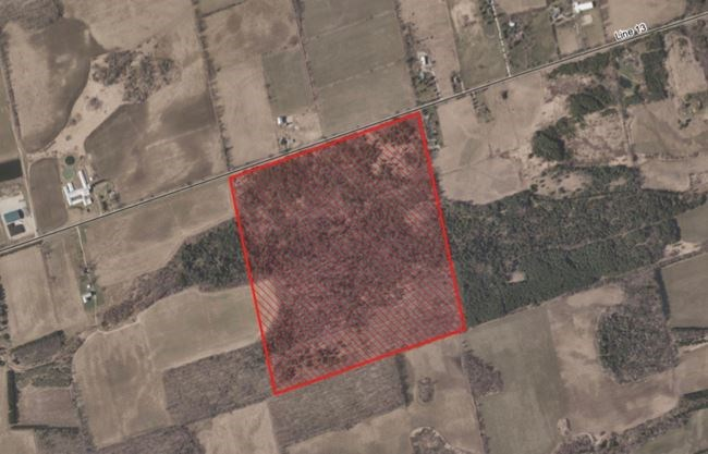 Aerial view of the land acquired by Simcoe County in BWG