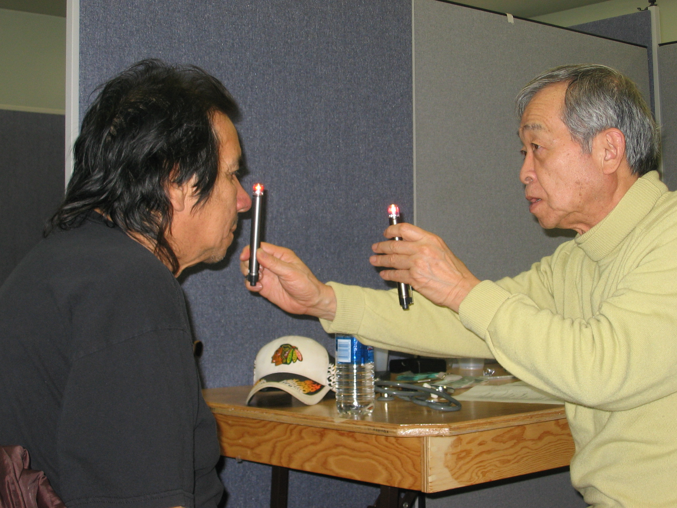 Grassy Narrows resident Steve Fobister being tested by the late Dr. Masazumi Harada in 2010 -Kate Harries photo