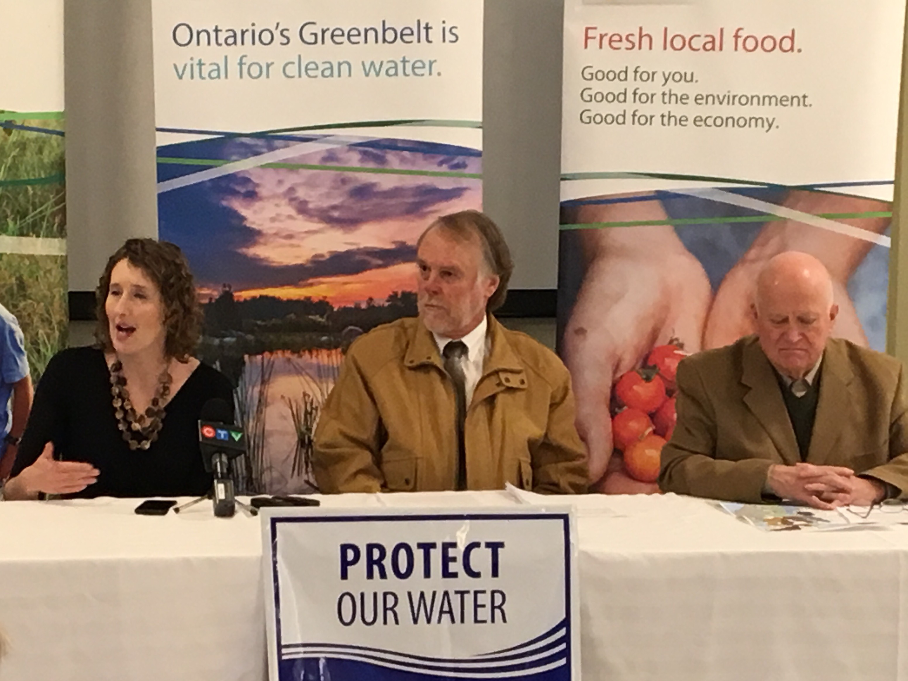 Margaret Prophet of the Simcoe County Greenbelt Coalition, Bernard Pope of the Ontario Farmland Trust and Springwater Mayor Bill French. -SCGC photo