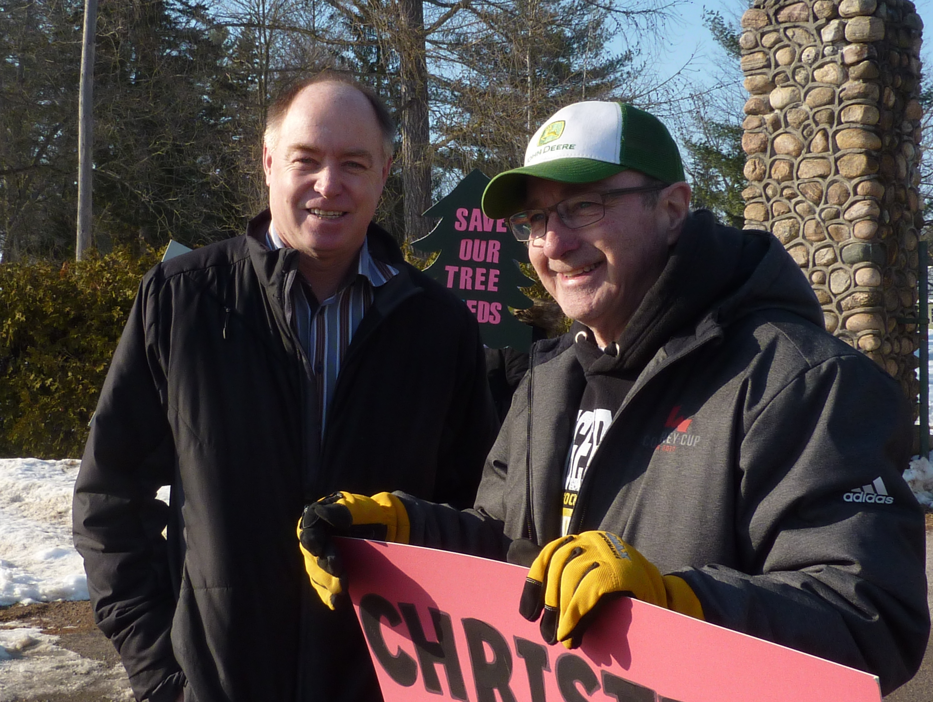 Mayor Terry Dowdall, left, at February 14 Angus protest