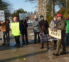 Protest outside the Ontario Tree Seed Plant