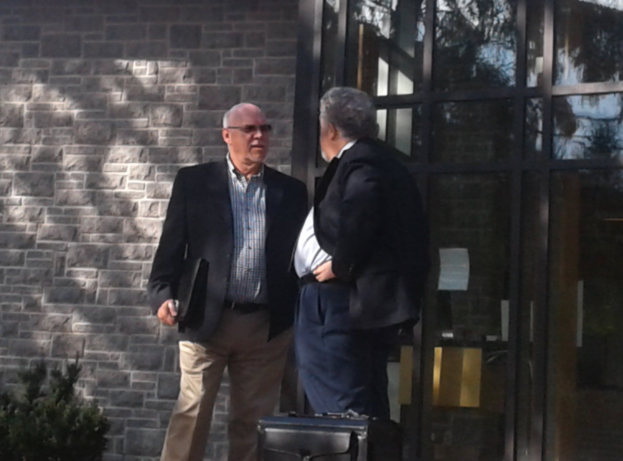 Former Springwater deputy mayor Dan McLean confers with his lawyer Jack Siegel -Kate Harries photo