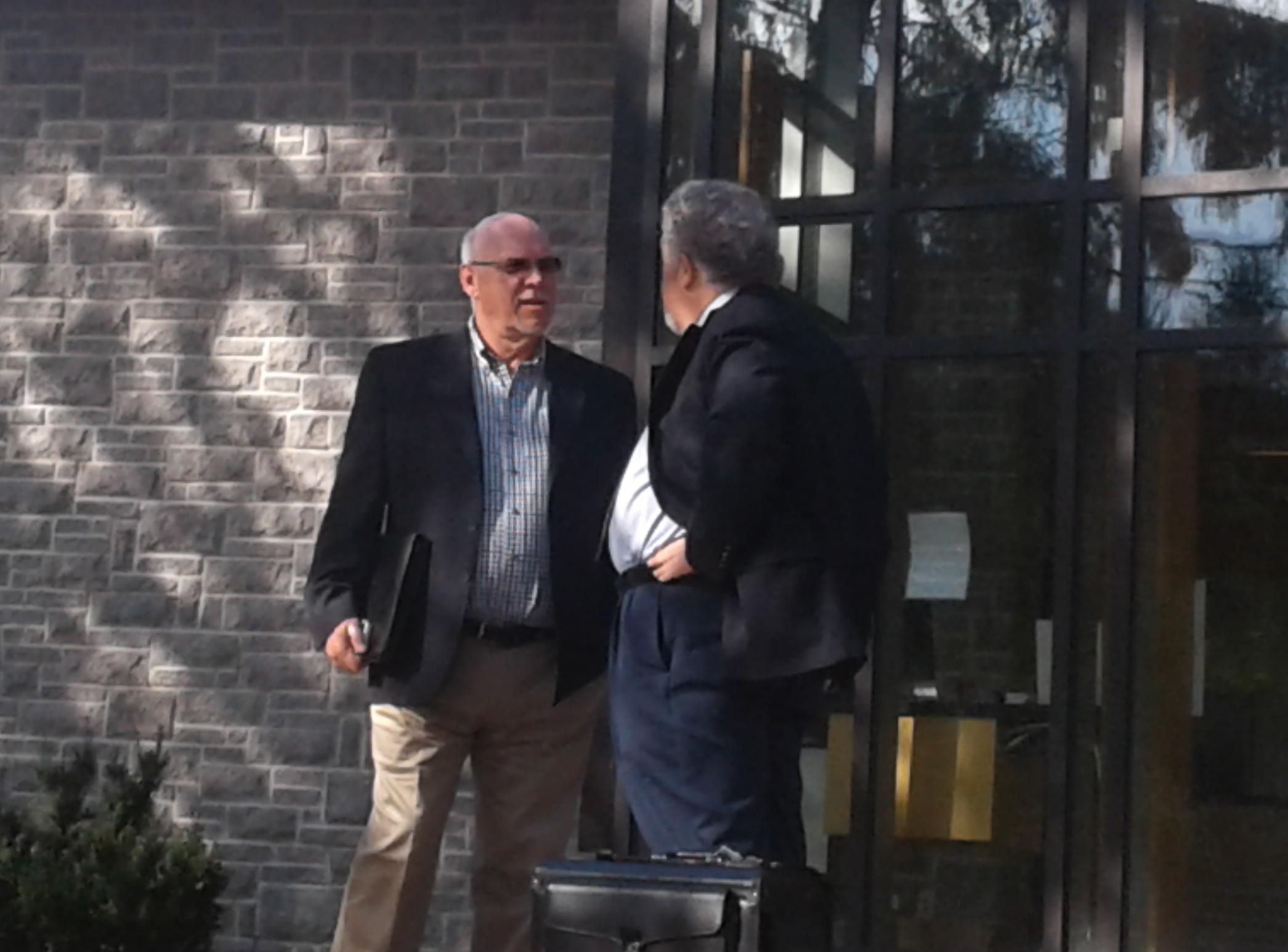 Former Springwater deputy mayor Dan McLean confers with his lawyer Jack Siegel -Kate Harries photo