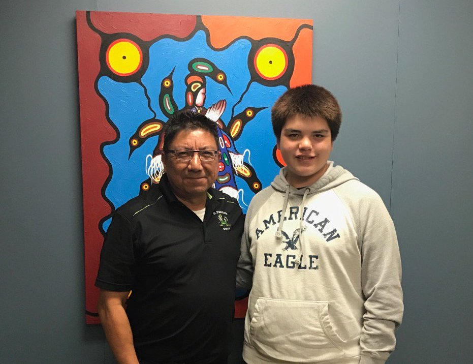 Lance Copegog in a recent photo with Alvin Fiddler, Grand Chief at Nishnawbe Aski Nation