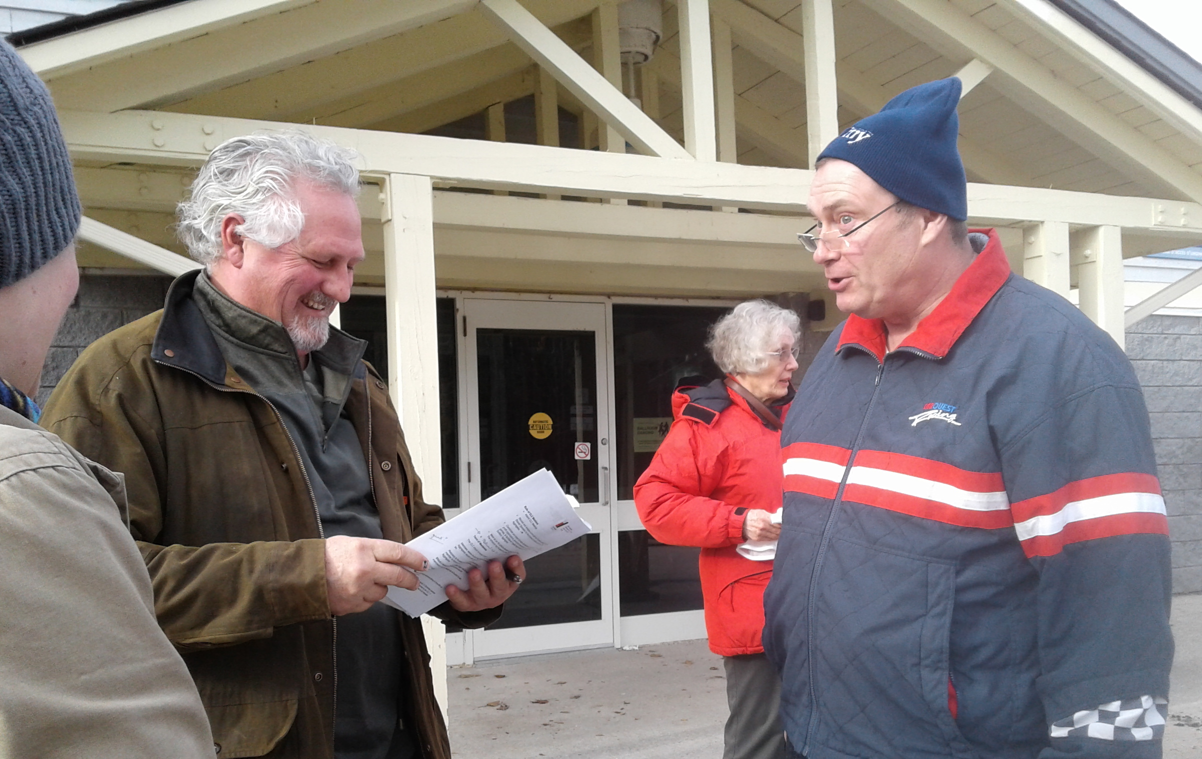 Councillor Richard Hinton, at right -AWARE Simcoe photo
