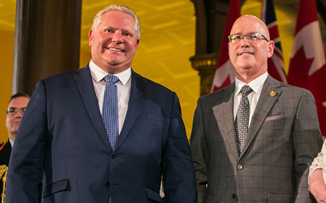Premier Doug Ford and Municipal Affairs Minister Steve Clark