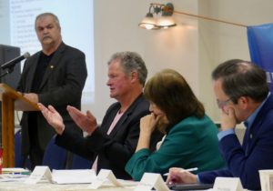 Moderator Pierre-Paul Maurice, Grahame Russell, Rev.-\Meg Ryan and MPP Doug Downey at Elmvale community update. -AWARE Simcoe photo