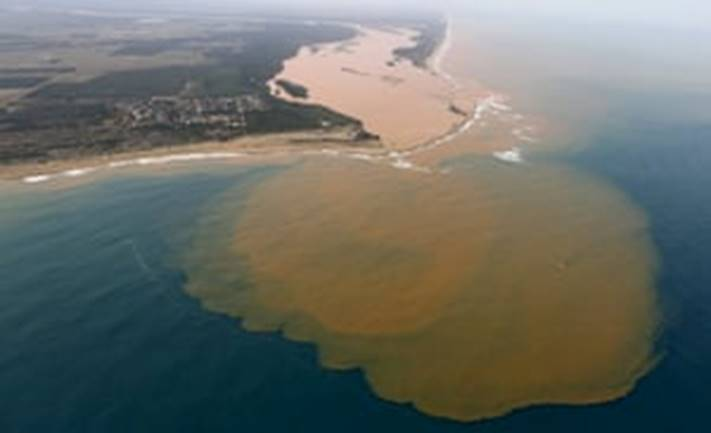A contaminated plume enters the Atlantic from the mouth of Brazil's Rio Doce. in 2015.