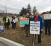 Concerned stakeholders protest outside secret aggregate summit in Caledon