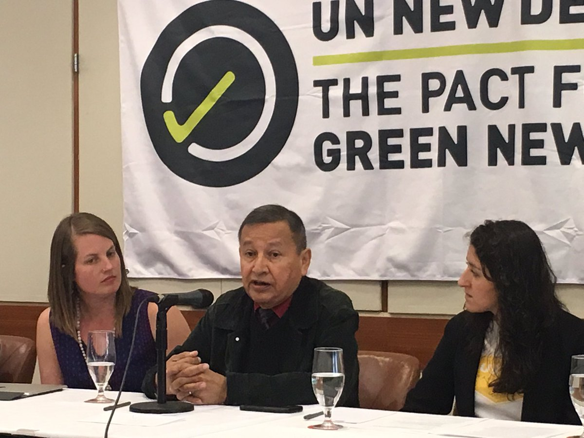 Grand Chief Stewart Philip, centre, at launch of Green New Deal