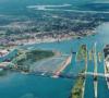 The St. Marys River drains Lake Superior into Lake Huron. Wikipedia photo